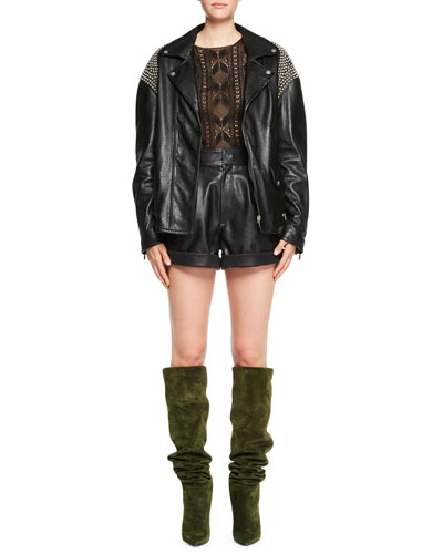 Zip-Front Oversized Moto Leather Jacket with Shoulder Studs and Matching Items