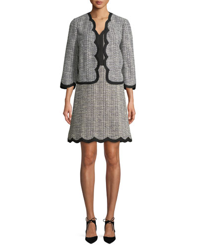 scalloped open-front tweed jacket and Matching Items