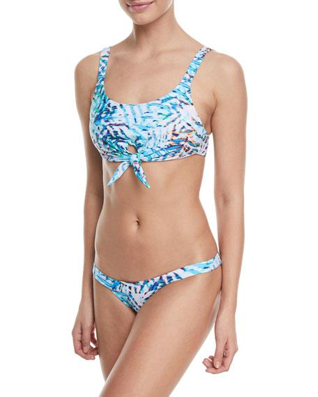 Knot-Front Printed Halter Swim Top