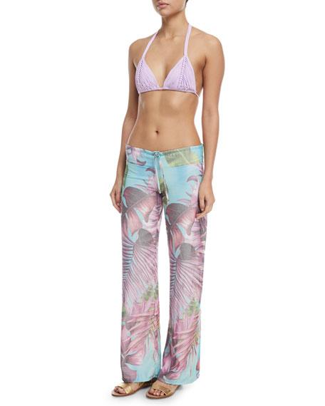 Tropical-Print Coverup Lounge Pants