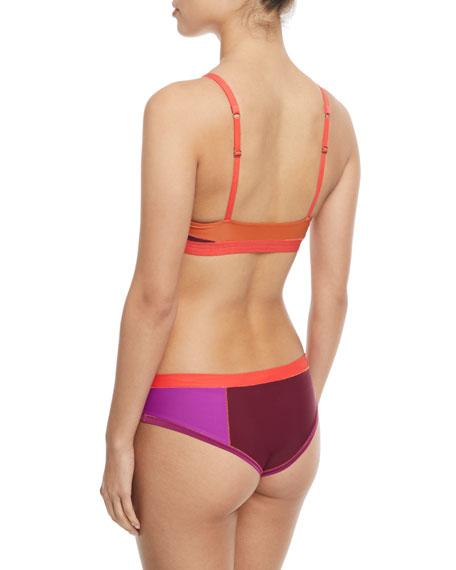 Tais Scoop-Neck Colorblocked Swim Top