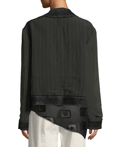 Reversible Striped-Linen Kimono Jacket with Leather and Suede Trim
