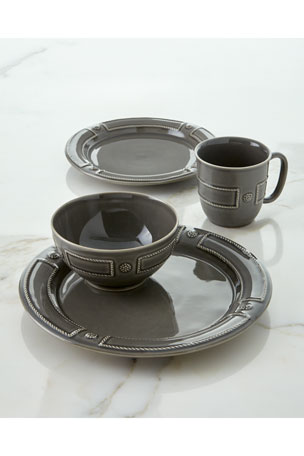 Juliska Berry & Thread French Panel Stone Grey Dessert/Salad Plate Berry & Thread French Panel Stone Grey Coffee Cup Berry & Thread French Panel Stone Grey Dinner Plate