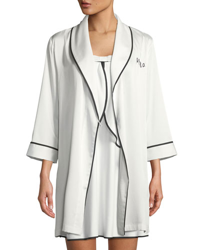 mrs. satin bridal robe and matching items