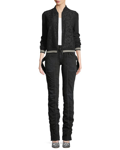Long-Sleeve Zip-Front Lace-Front Bomber Jacket and Matching Items