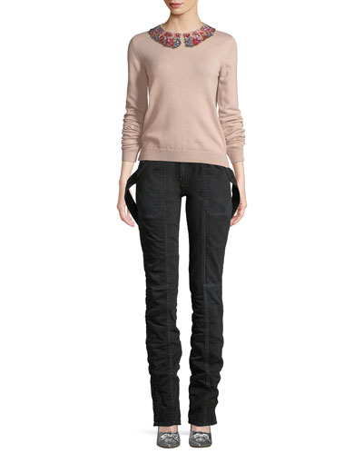 Long-Sleeve Cashmere Sweater with Floral-Sequined Collar and Matching Items