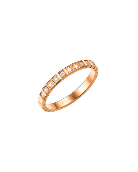 Ice Cube Mini Diamond Ring in 18K Rose Gold, Size 54