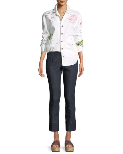 Whimsical Canyon Button-Front Embroidered Denim Jacket and Matching Items