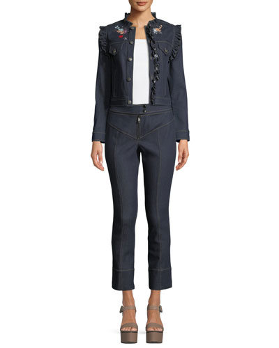 Lina Button-Front Embroidered Denim Jacket  and Matching Items
