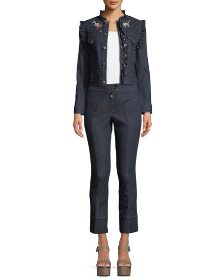 Lina Button-Front Embroidered Denim Jacket