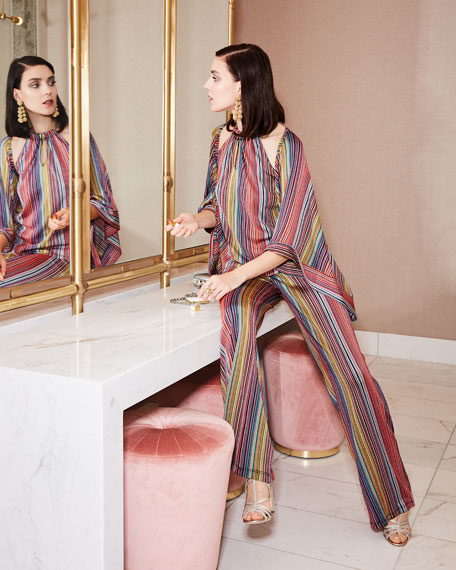 Exquisite Daybreak Stripe-Knit Open Jacket