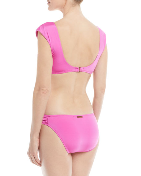 Key Solids Tie-Front Cap-Sleeve Swim Top