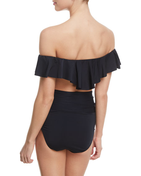 Off-the-Shoulder Ruffle Solid Swim Top