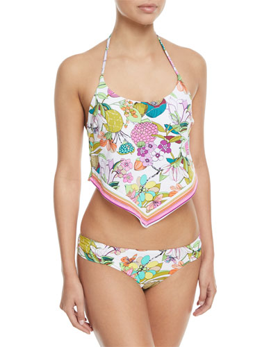 Key West Botanical-Print Shirred-Side Hipster Swim Bottoms and Matching Items