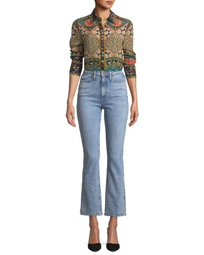 Willa Long-Sleeve Button-Front Mixed-Print Silk Top and Matching Items