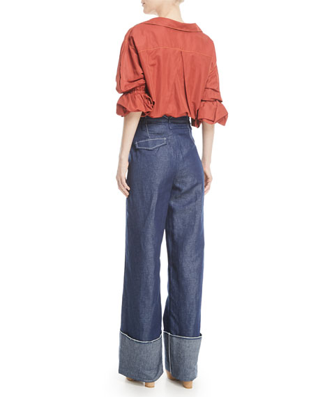 Amber V-Neck Button-Front Linen Shirt
