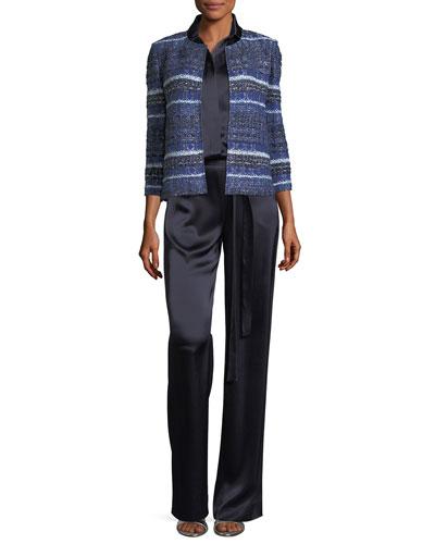 Eva Tweed Striped 3/4-Sleeve Jacket and Matching Items
