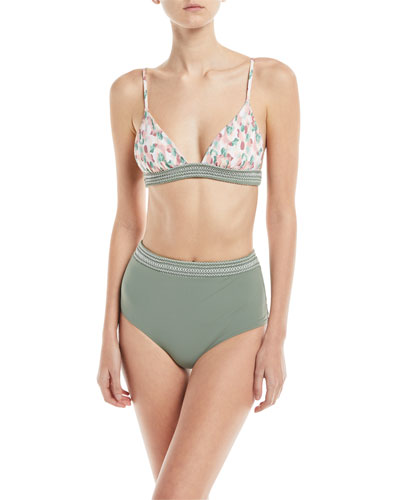 Mia Fixed Triangle-Cup Printed Swim Top and Matching Items