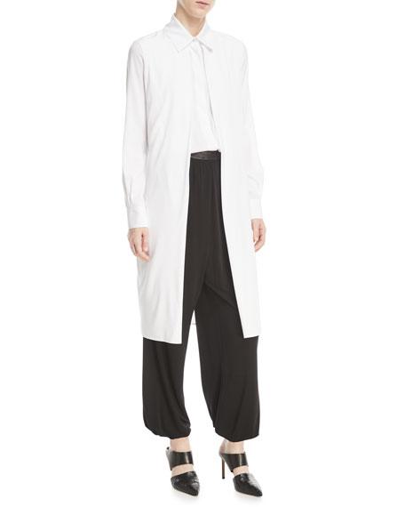 Long-Sleeve Split-Front Stretch-Silk Satin Shirt