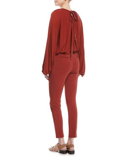 Tie-Neck Split-Back Crepe Jersey Blouse w/ Leather Trim