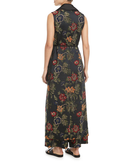 Sleeveless Floral Satin Jacquard Wrap Vest