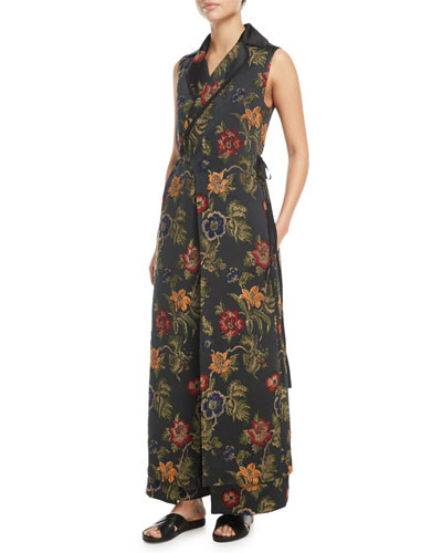 Sleeveless Floral Satin Jacquard Wrap Vest and Matching Items