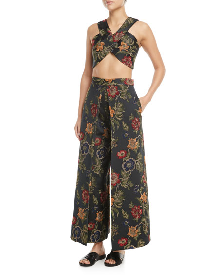 Floral-Jacquard Satin Cross-Front Bra Top