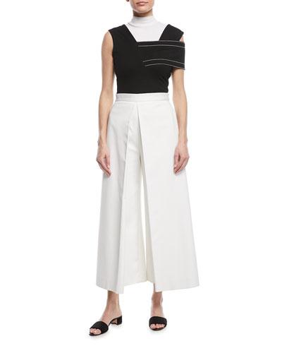 Turtleneck Sleeveless Mini-Rib Jersey Cotton Top and Matching Items