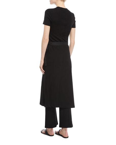 Crewneck Short-Sleeve Rib-Jersey Apron Dress