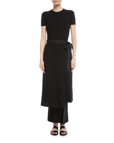 Crewneck Short-Sleeve Rib-Jersey Apron Dress and Matching Items