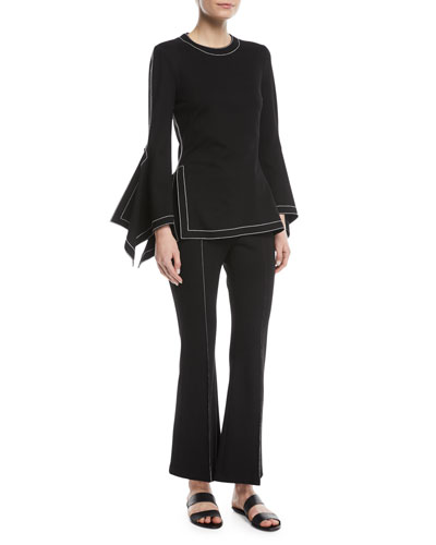 Interlock Jersey Draped Bell-Sleeve Top w/ Topstitching  and Matching Items
