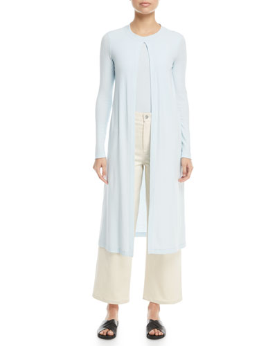 Split-Front Long-Sleeve Mercerized Cotton Rib Jersey Cardigan and Matching Items