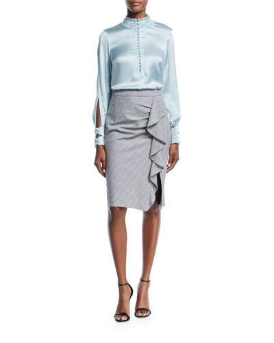 Playful Plaid Ruffle Pencil Skirt and Matching Items