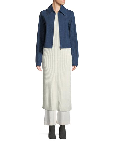 Roxanne Zip-Front Denim Jacket