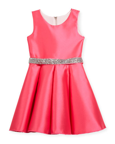 Matte Sateen Swing Dress w/ Crystal Belt, Size 4-6X  and Matching Items