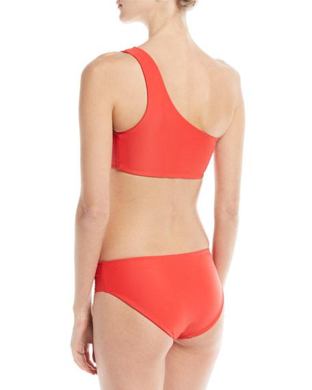 Hukilau One-Shoulder Solid Swim Top w/ Cutout Detail