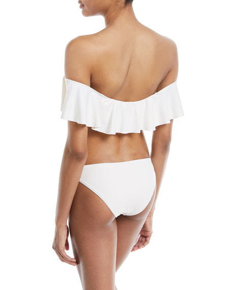Margarita So Solid Ruffled Off-the-Shoulder Swim Top