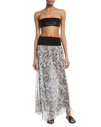 Damask-Print Sheer Silk Maxi Skirt Coverup and Matching Items