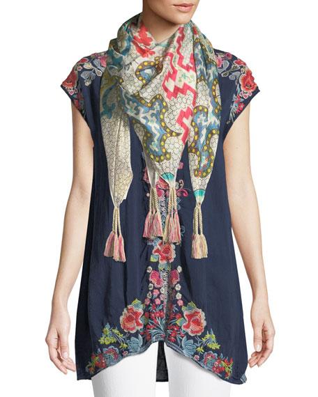 Pari Long Embroidered V-Neck Tunic, Plus Size