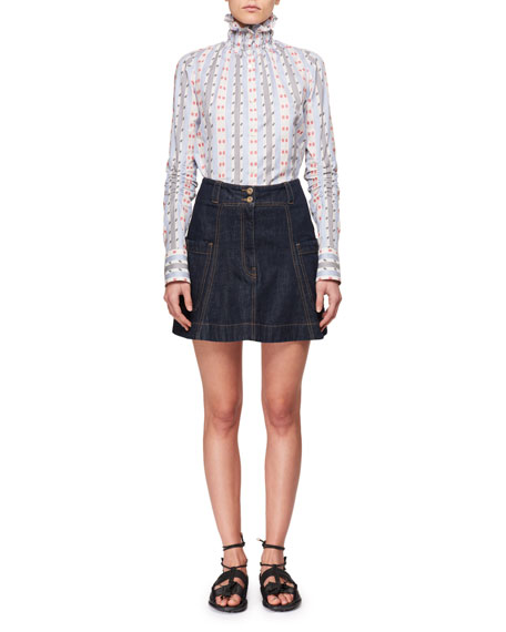 Smocked-Collar Button-Down Striped Long-Sleeve Jacquard Shirt