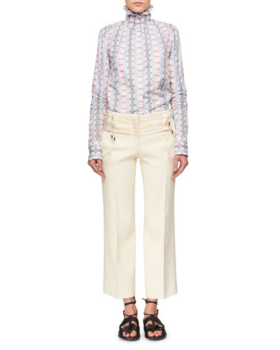 Smocked-Collar Button-Down Striped Long-Sleeve Jacquard Shirt and Matching Items