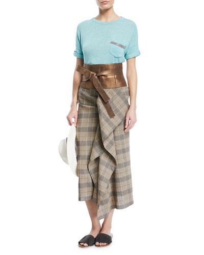 Crewneck Short-Sleeve Cotton T-Shirt with Monili Pocket and Matching Items