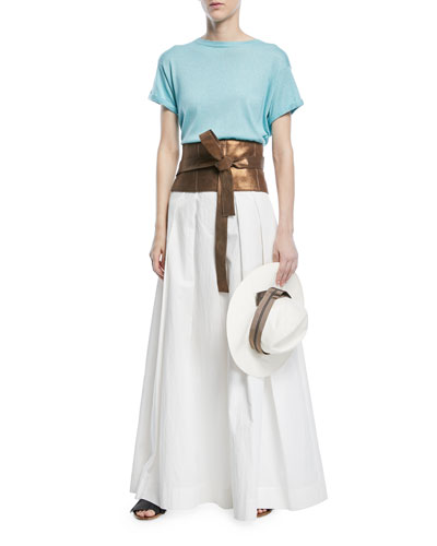 Pleated Wide-Leg Cotton-Blend Skirt-Pants and Matching Items
