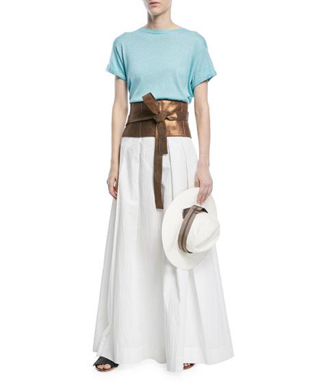 Crewneck Short-Sleeve Cashmere Lurex® T-Shirt