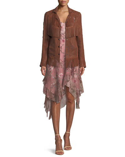 Criminal Western Fringe Snap-Front Suede Jacket and Matching Items