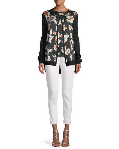 Jersey Knit Cardigan w/ Floral-Print Silk Front  and Matching Items