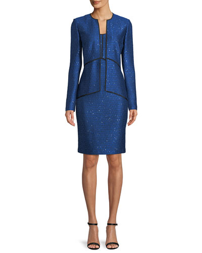 Luster Sequined Knit Peplum Jacket  and Matching Items