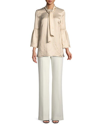 Tie-Neck Striped Satin Twill Bell-Sleeve Blouse  and Matching Items