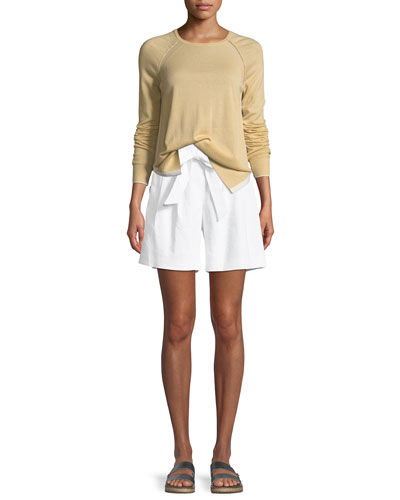 Linen Twill Tie-Front Shorts  and Matching Items