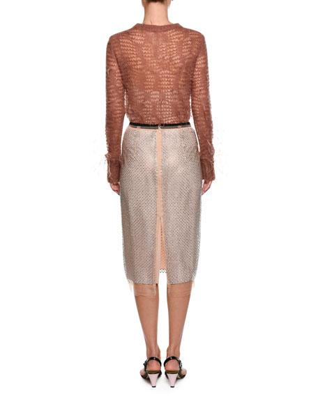 Crewneck Long-Sleeve Open-Knit Sweater